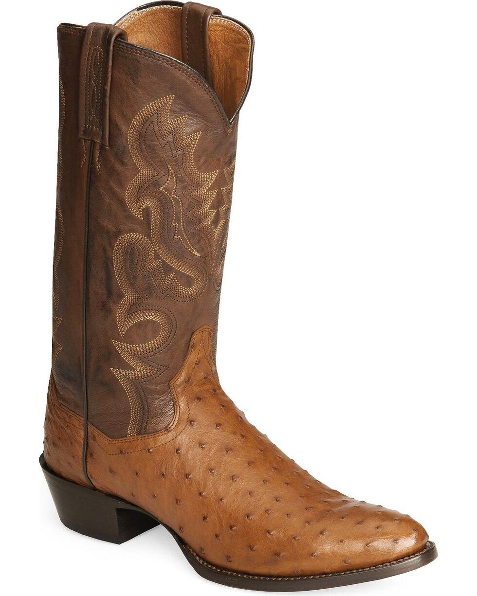 Dan Post Men's Full Quill Ostrich Western Boots, Cognac, hi-res