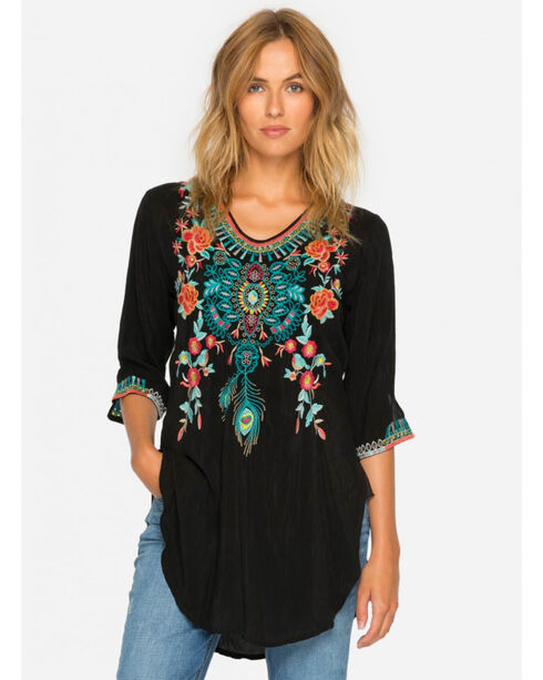 Johnny Was Women's Black Zivelly Tunic , Black, hi-res