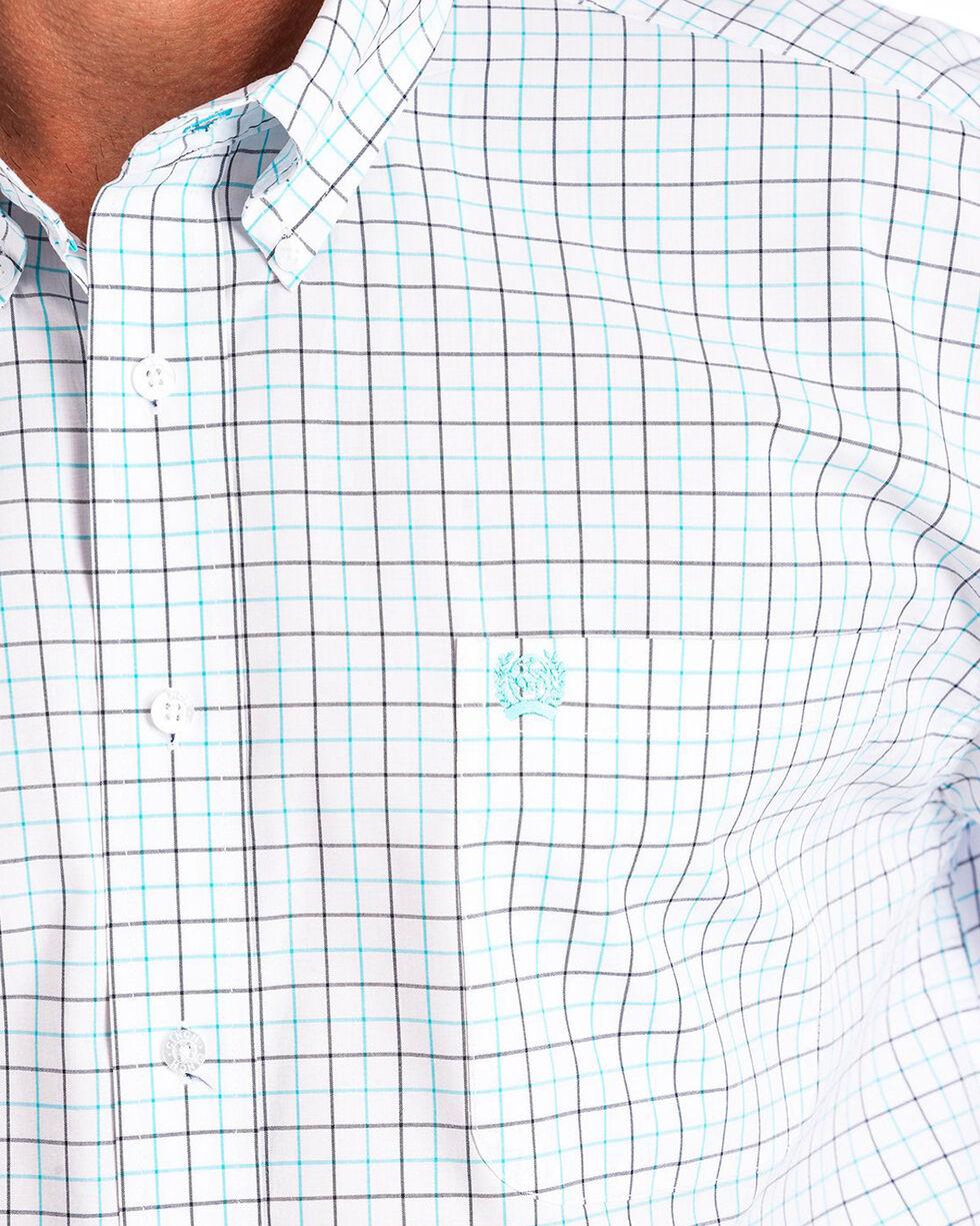 Cinch Men's White Plain Weave Plaid Short Sleeve Shirt, White, hi-res