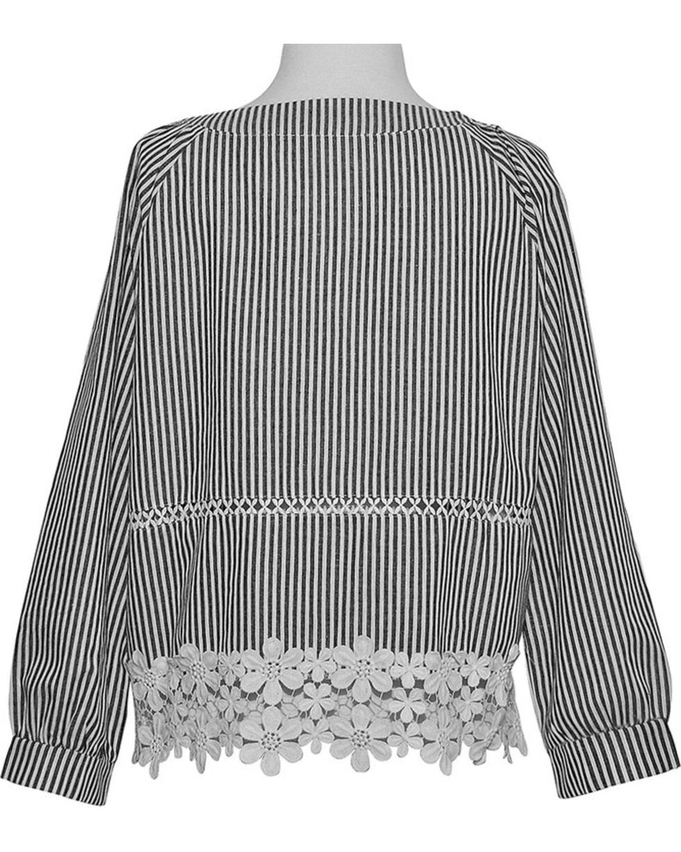 Young Essence Women's Denim Pinstripe Lace Top, Indigo, hi-res