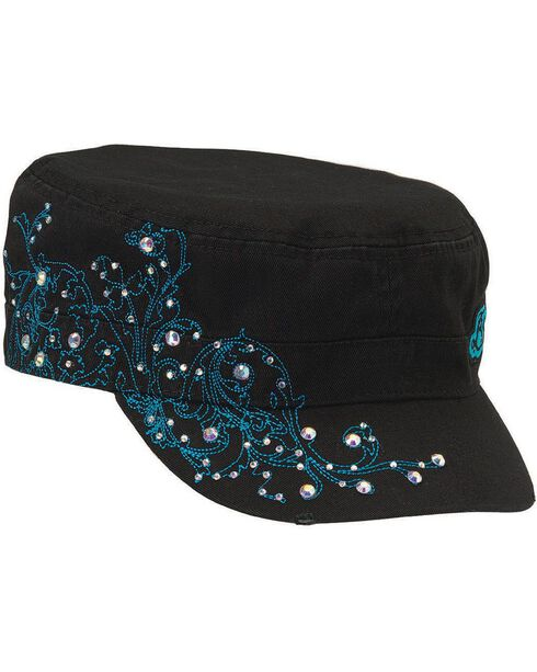 Blazin Roxx Embellished Turquoise Scroll Stitched Cap, , hi-res