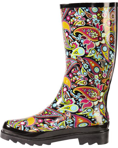 Blazin Roxx Paisley Rain Boots - Round Toe, Multi, hi-res