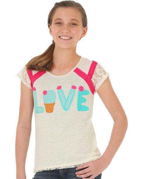 Wrangler Girls' Cream Lace Sleeved Top , Cream, hi-res