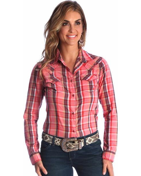 Wrangler Women's Coral Rhinestone Studded Long Sleeve Shirt , Coral, hi-res