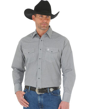 Wrangler George Strait Men's Black/White Printed Poplin Snap Shirt - Big & Tall, Black, hi-res