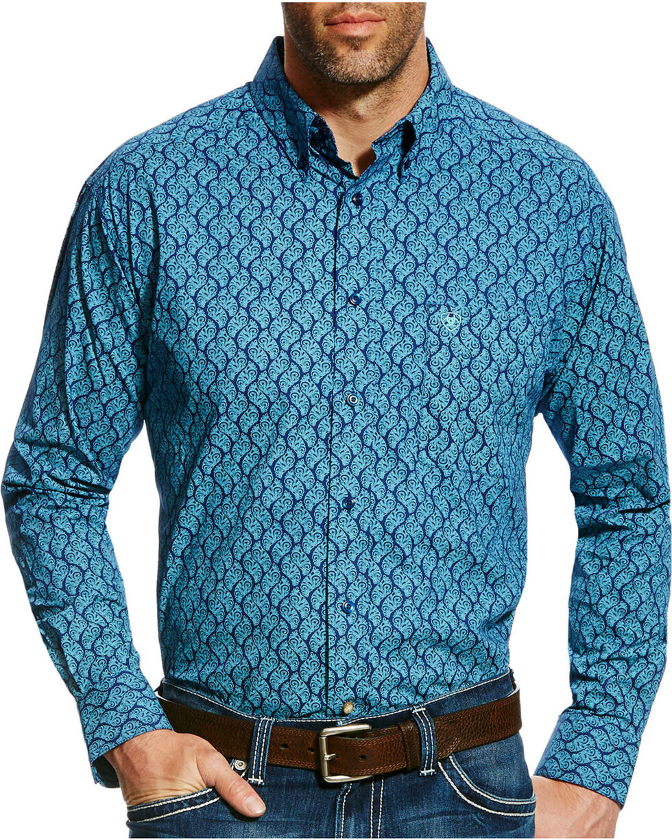 Ariat Men's Casual Series Gavriel Print Long Sleeve Button Down Shirt, Blue, hi-res