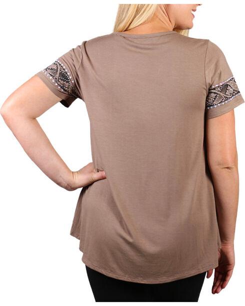 Vocal Women's Plus Rhinestone Cross Short Sleeve Top, Beige/khaki, hi-res