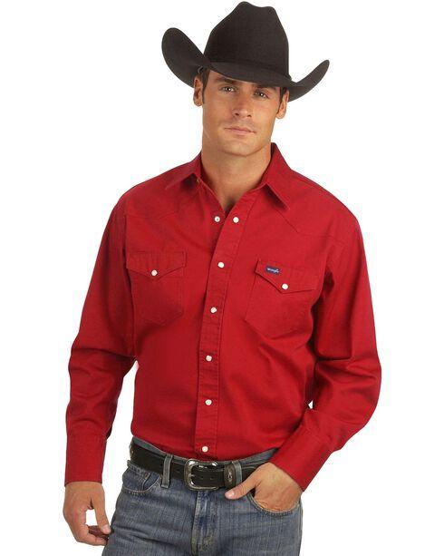 Wrangler Twill Work Shirt, Red, hi-res