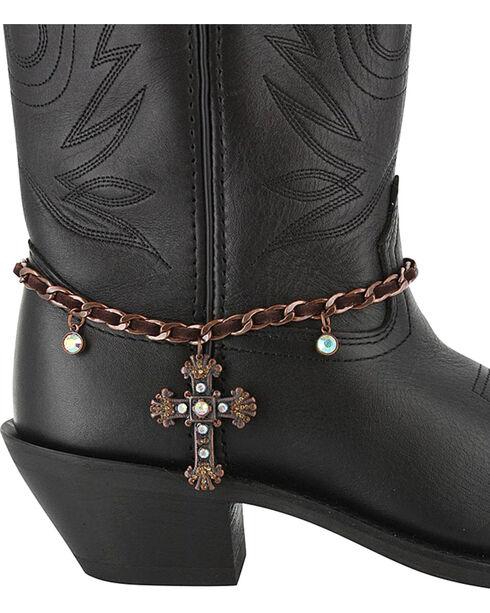 Shyanne® Women's Bronze Cross Boot Bracelet, Brown, hi-res