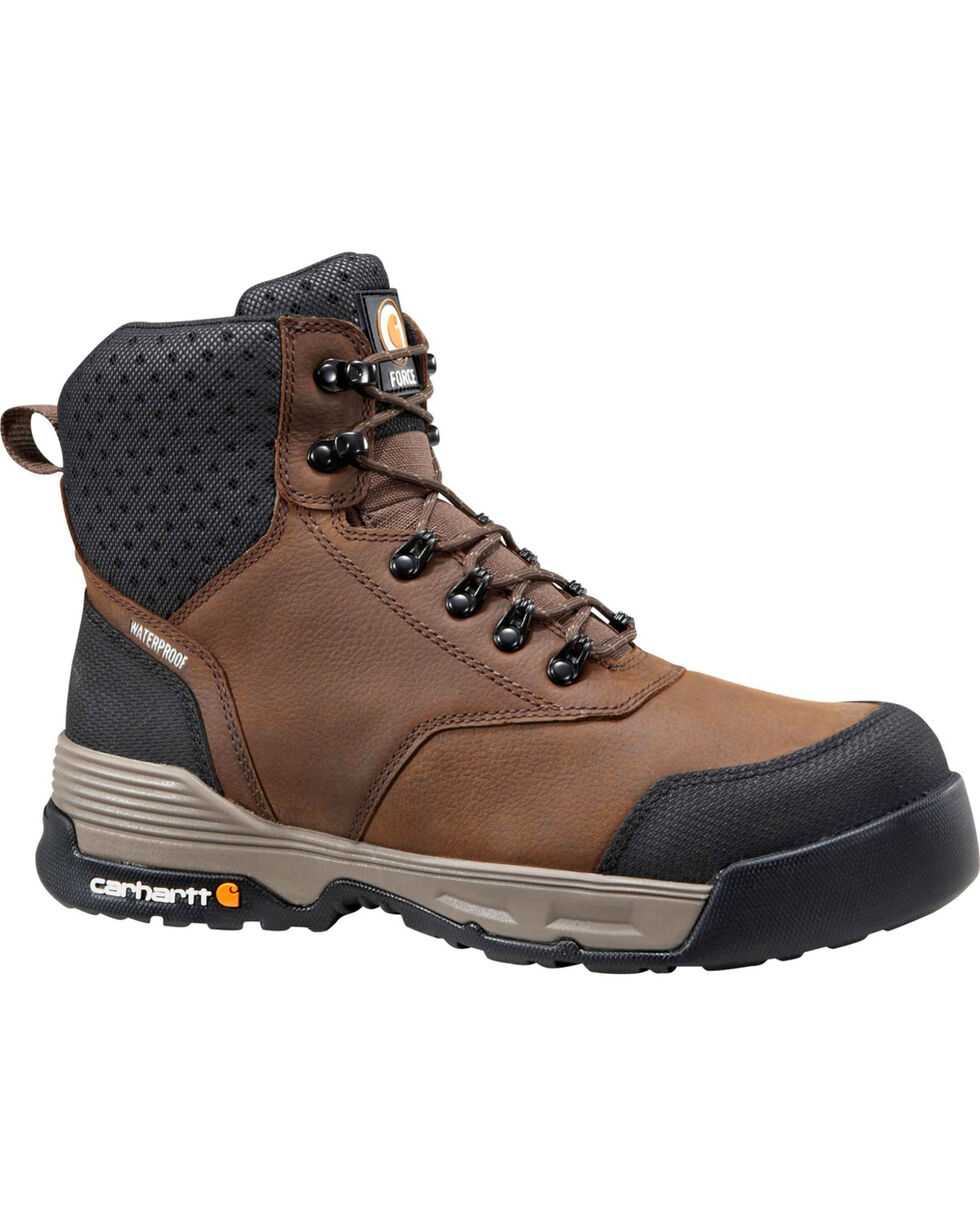 "Carhartt Force Men's 6"" H2O Brown Work Boots - Comp Toe, Chocolate, hi-res"
