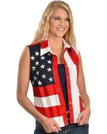 Scully Women's Stars & Stripes Sleeveless Western Shirt, , hi-res