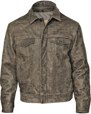 STS Ranchwear Men's Maverick Rustic Black Leather Jacket, Black, hi-res
