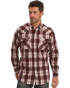 Ely Cattleman Men's Burgundy Texture Plaid Shirt , Burgundy, hi-res