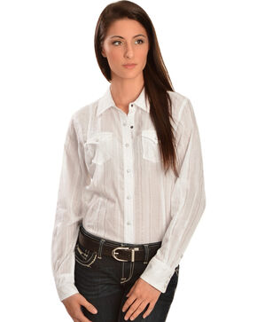 Ariat Women's Alice Lurex Snap Western Shirt, White, hi-res