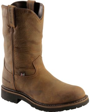"Justin Men's Wyoming 10"" Waterproof Work Boots, Brown, hi-res"