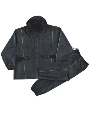 Milwaukee Leather Men's Reflective Heat Guard Waterproof Rain Suit - 3X, Black, hi-res