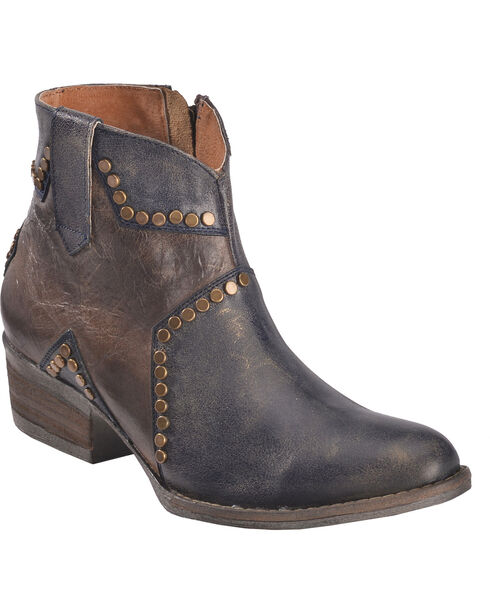Circle G Women's Studded Star Inlay Ankle Boots - Round Toe, Blue, hi-res