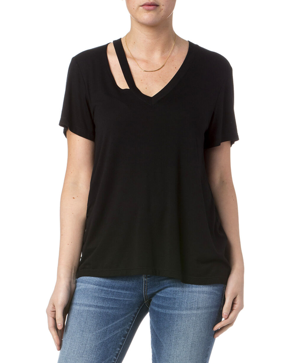Miss Me Women's Black Simple Tee , Black, hi-res