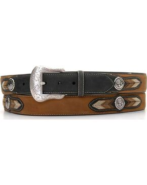 Leather Overlay String Lace Concho Belt, Black, hi-res