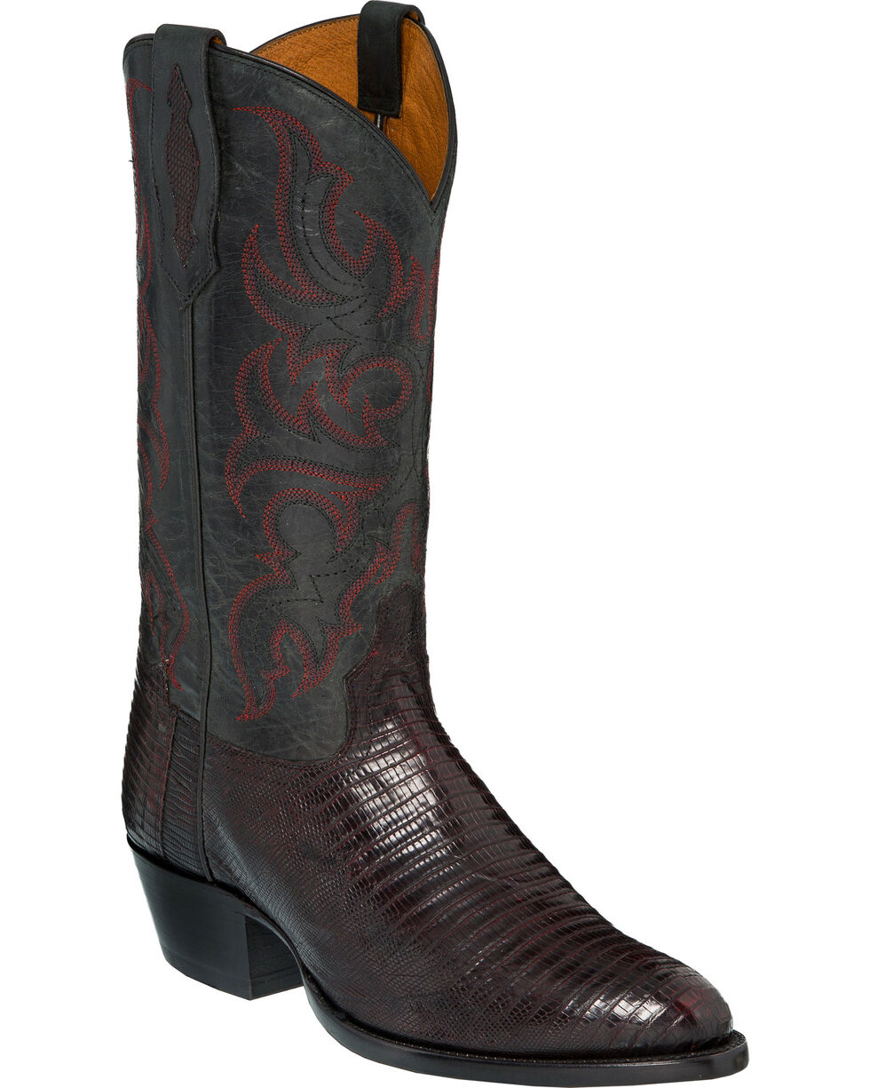 Tony Lama Men's Caprock Black Cherry Teju Lizard Cowboy Boots - Round Toe, Black Cherry, hi-res