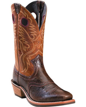 Ariat Men's Square Toe Embroidered Western Boots, Dark Brown, hi-res