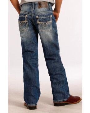 Rock & Roll Cowboy Boys' Medium Wash Regular Boot Cut Jeans, Blue, hi-res