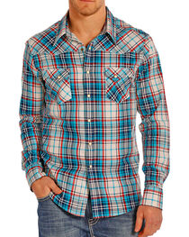 Rock & Roll Cowboy Men's Crinkle Plaid Long Sleeve Shirt, , hi-res