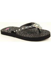 Blazin Roxx Leanne Black Cross Crystal Concho Flip Flops, , hi-res