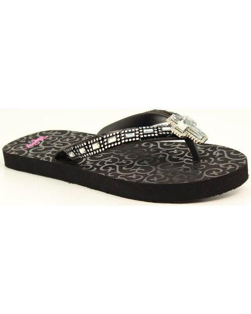 Blazin Roxx Leanne Black Cross Crystal Concho Flip Flops, Black, hi-res