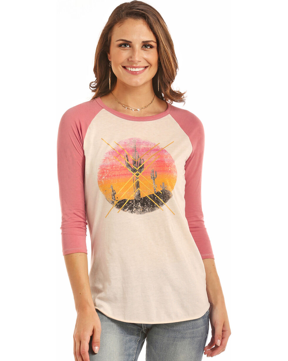 Rock & Roll Cowgirl Women's Desert Scene Baseball Tee, Hot Pink, hi-res