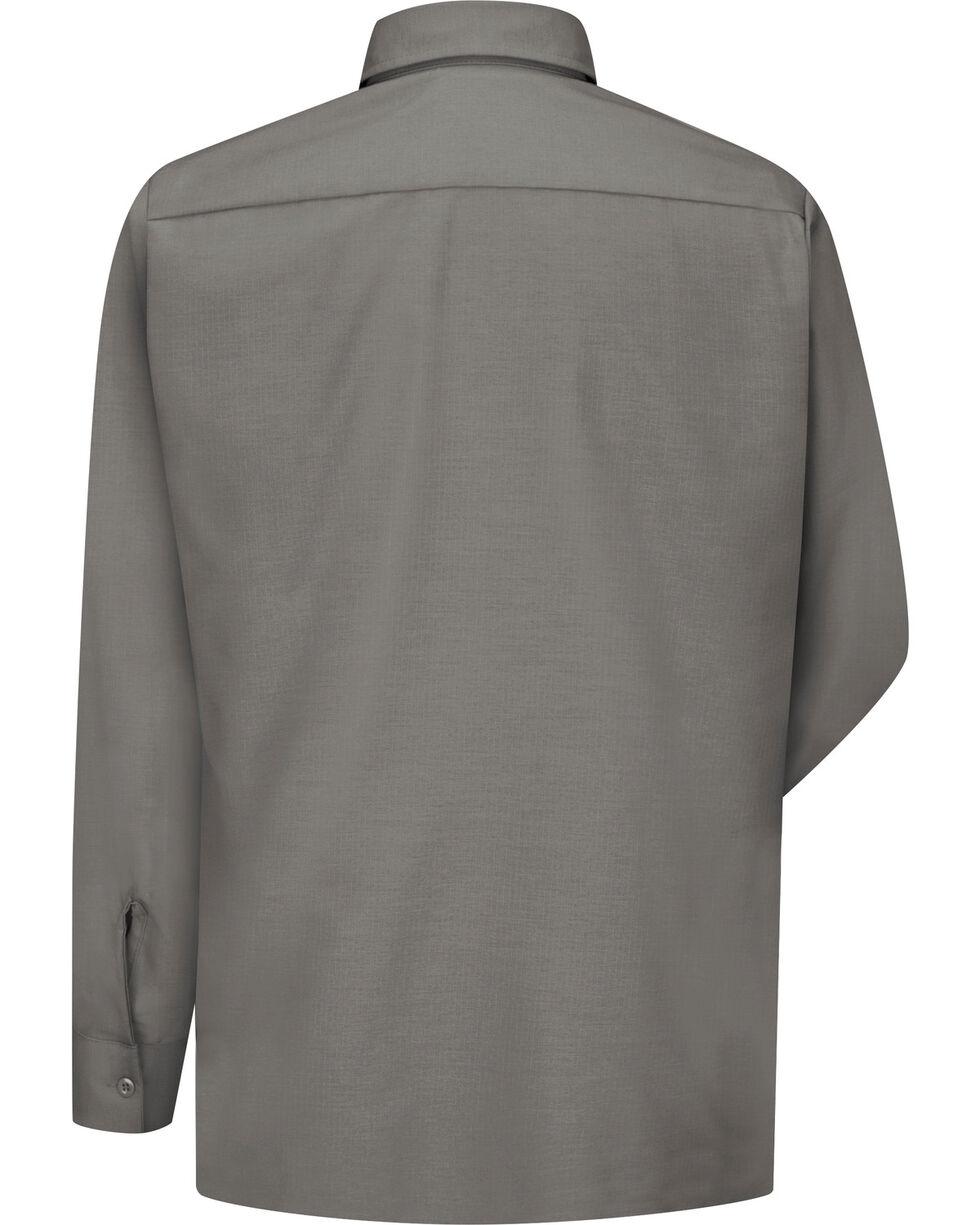 Red Kap Men's Solid Rip Stop Long Sleeve Work Shirt , Grey, hi-res