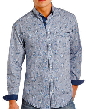 Panhandle Men's Paisley Contrast Long Sleeve Shirt, Navy, hi-res