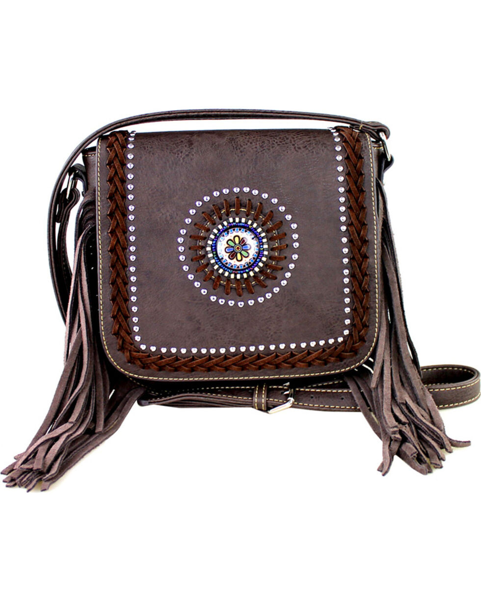Montana West Braided Lacing Fringe Collection Crossbody Bag, Brown, hi-res