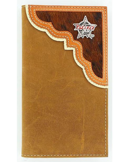 PBR Men's Rodeo Wallet and Checkbook Cover, Aged Bark, hi-res