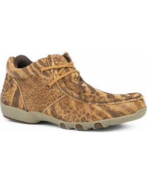 Roper Women's High Country Cassie Animal Print Suede Driving Moc Chukka Shoes, Tan, hi-res