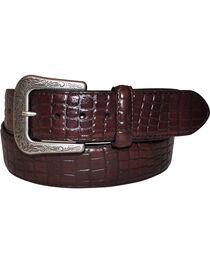 G Bar D Men's Dark Brown Croco Print Belt, , hi-res