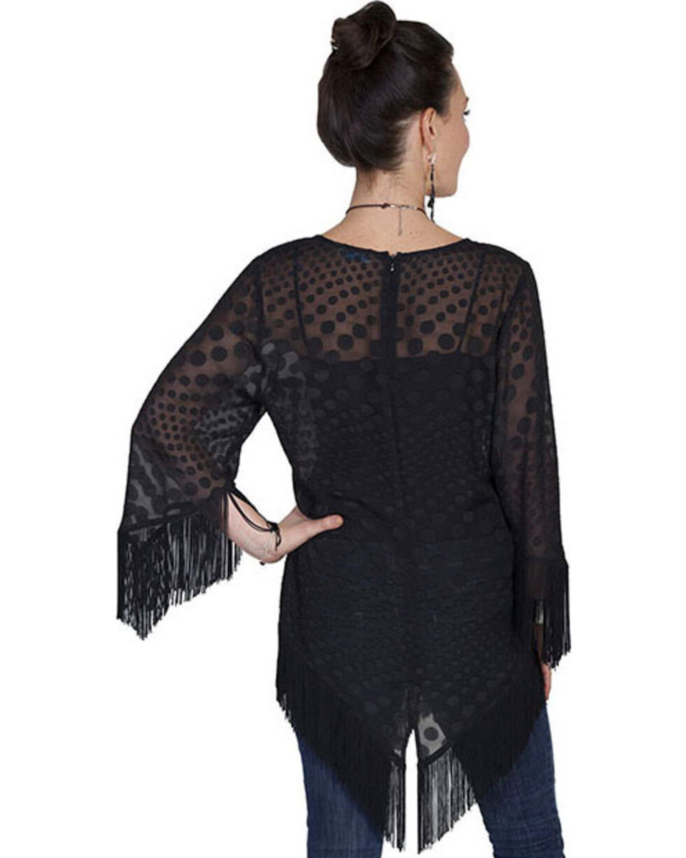 "Scully Honey Creek Sheer ""Dot"" Fringe Blouse, Black, hi-res"
