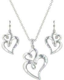 Montana Silversmiths Women's Infinite Love Heart Jewelry Set , , hi-res