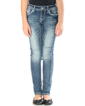Grace in LA Girls' Indigo Tribal Embroidered Pocket Jeans - Skinny , Indigo, hi-res
