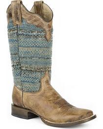 Roper Women's Brown Arnette Western Boots - Square Toe , , hi-res