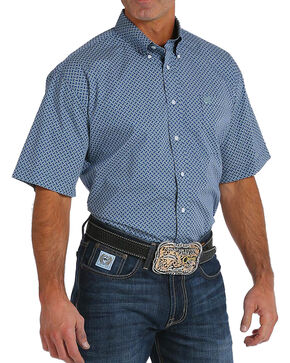 Cinch Men's Navy Print Short Sleeve Button Down Shirt, Navy, hi-res