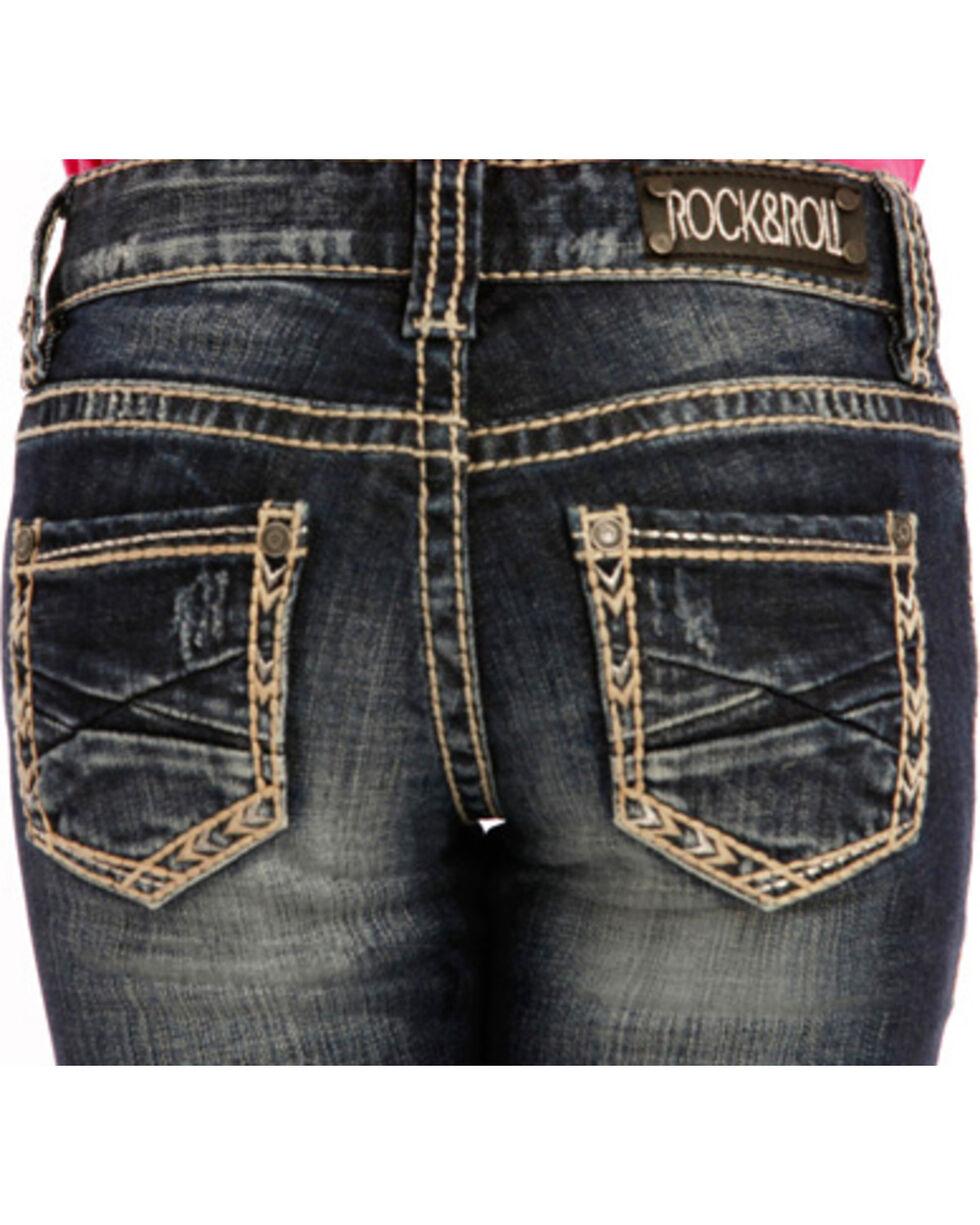 Rock & Roll Cowgirl Girls' Khaki Border Jeans - Boot Cut , Dark Blue, hi-res