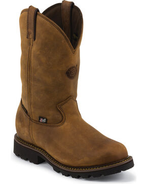 Justin Men's Stag Gaucho Waterproof Insulated Pull-On Work Boots, Gaucho, hi-res