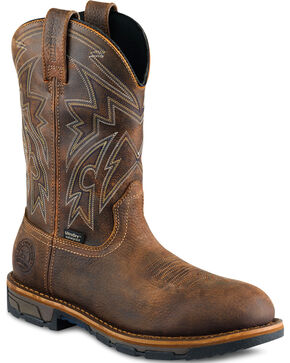 Red Wing Irish Setter Marshall Distressed Work Boots - Soft Square Toe  , Brown, hi-res