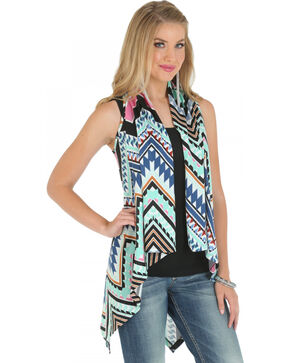 Wrangler Women's Sweater Knit Aztec Print Vest , Blue, hi-res