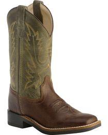 Old West Children's Stiched Olive Cowboy Boots - Square Toe, , hi-res