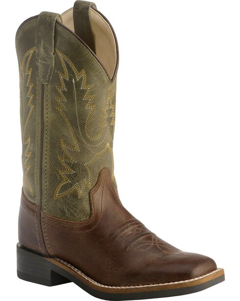 Old West Youth Boys' Stitched Olive Cowboy Boots - Square Toe, Chocolate, hi-res