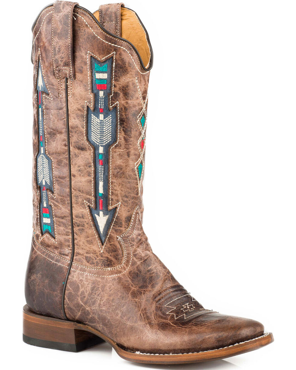 Roper Women's Arrow Inlay Cowgirl Boots - Square Toe, Brown, hi-res