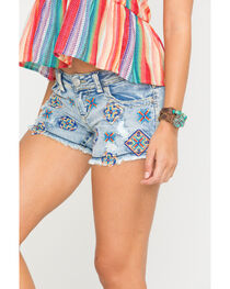 Grace in L.A. Women's Embroidered Pattern Shorts, , hi-res