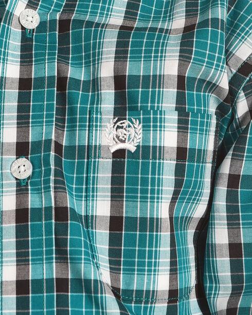 Cinch Boys' Teal Plaid Western Shirt , Teal, hi-res